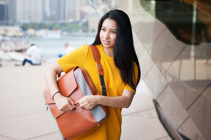 P.MAI laptop backpack in tan leather in Sydney