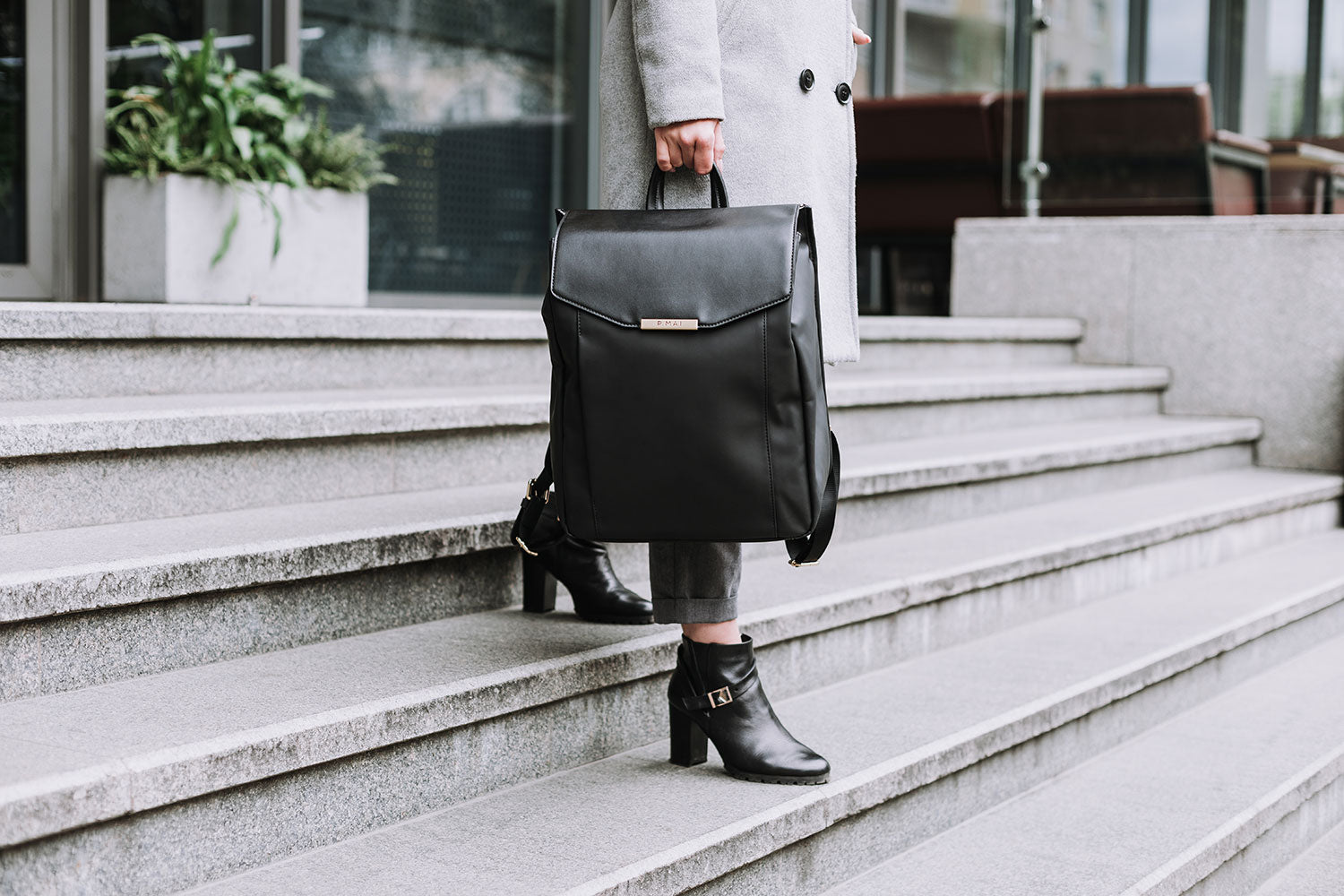 P.MAI Astrid vegan professional laptop leather backpack great for travel or work as purse and wallet