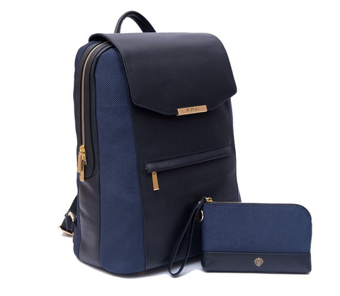 P.MAI professional navy travel women's leather laptop backpack purse and wallet for work in navy | KNOMO TUMI Cuyana Everlane Kate Spade