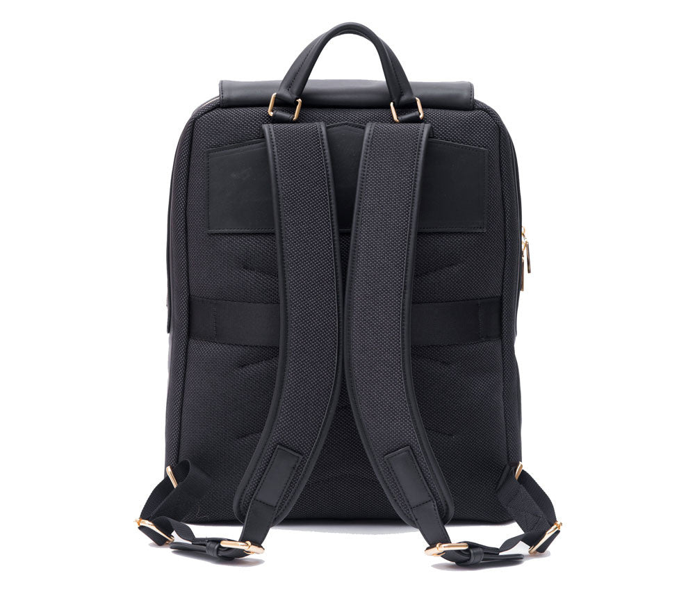 P.MAI best professional leather laptop backpack for women with wristlet purse, 15-inch executive laptop and notebook computer designer luxury backpack ideal for business work, school, travel and commuter in black | KNOMO TUMI Cuyana Everlane Kate Spade