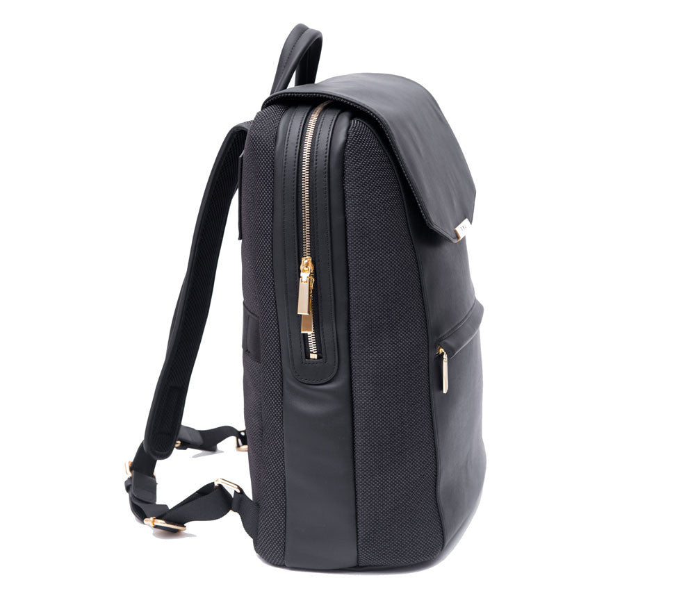 P.MAI professional travel women's leather laptop backpack purse for work in black