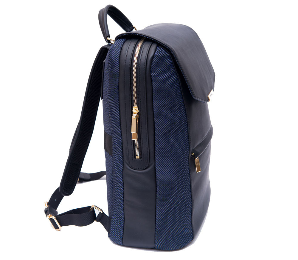P.MAI professional navy travel women's leather laptop backpack purse and wallet for work in navy