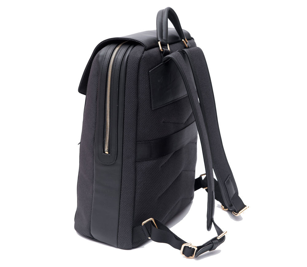 P.MAI professional luxury women's leather laptop computer backpack purse for work, travel, commute in black