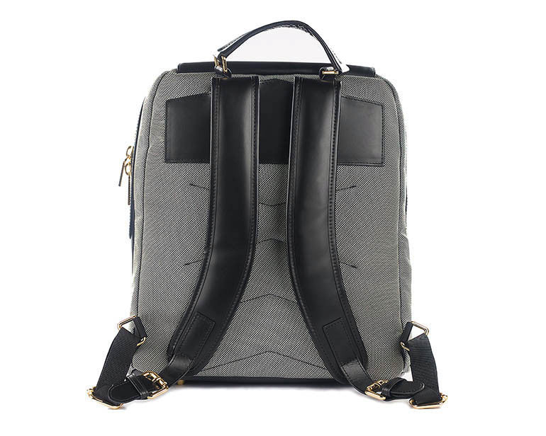 P.MAI Valletta black women's professional leather laptop luxury ergonomic backpack purse and wristlet
