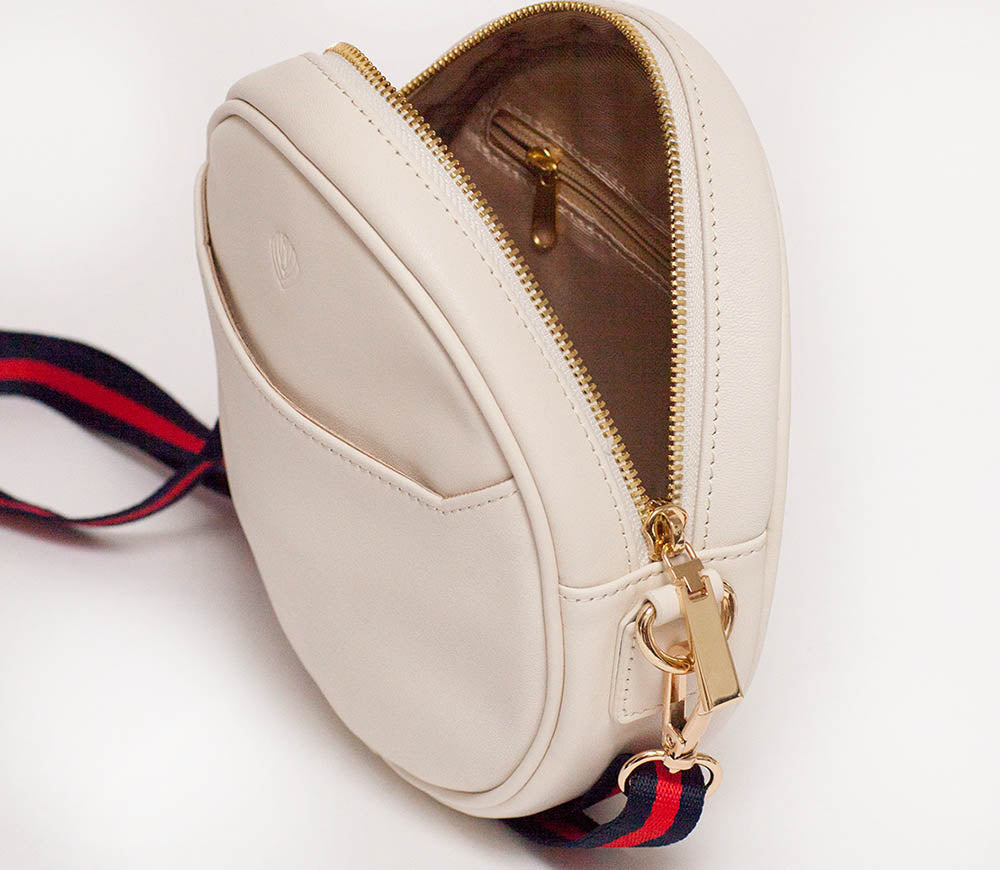 Women's leather belt bag, shoulder purse, fanny pack in white. Best for professionals who travel or commute.