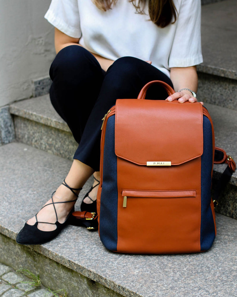P.MAI professional cognac travel women's leather laptop backpack bag purse and wallet for work in brown | KNOMO TUMI Cuyana Everlane Kate Spade
