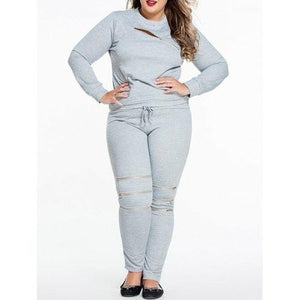 Plus Size Zipper Decorated Sweatshirt and Pants - eileenshoppingdeals