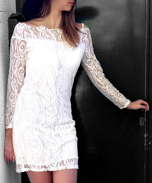 Off-The-Shoulder Lace Wedding Dress - eileenshoppingdeals