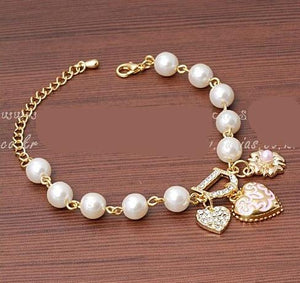 Sweet And Lovely Imitation Pearl Beads,  Crystal Bracelet Heart Flowers Letter D - eileenshoppingdeals
