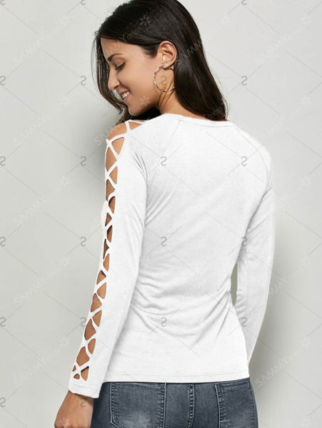 Raglan Sleeve Cut Out T-Shirt - eileenshoppingdeals