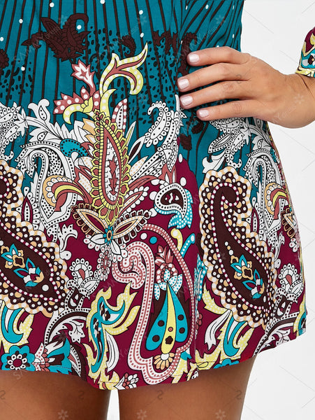 Off The Shoulder Paisley Dress - eileenshoppingdeals