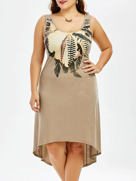 Plus Size Sleeveless A Line High Low Dress - Khaki - 2xl - eileenshoppingdeals