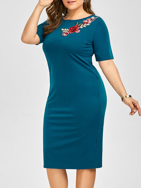 Plus Size Embroidered Embellished Midi Sheath Dress - Peacock Blue - 5xl - eileenshoppingdeals