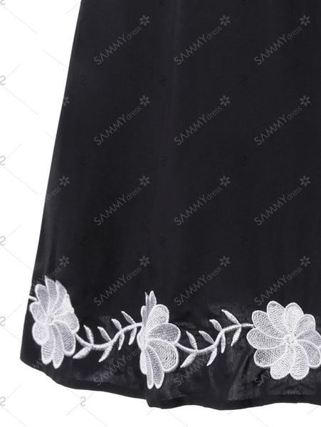 Plus Size Flower Embroidery Tie Front Dress - Black - 5xl - eileenshoppingdeals