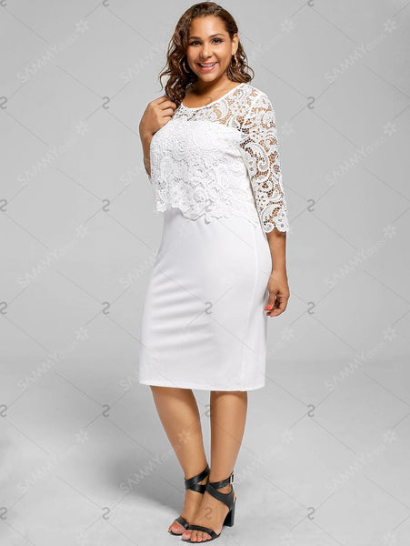 Plus Size Lace Panel Knee Length Dress - White - 2xl - eileenshoppingdeals