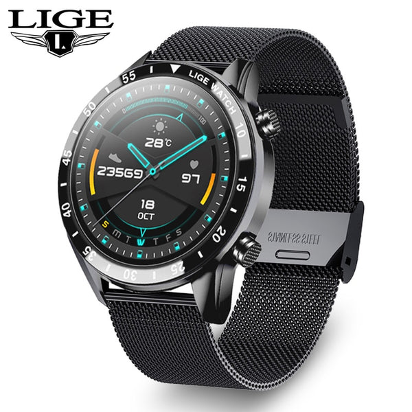 LIGE 2021 Fashion Full Circle Touch Screen Smart Watches Mens Waterproof Sport Fitness Watch for Bluetooth Call Smart Watch Men