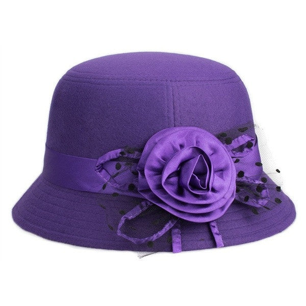 Trendy Women Evening Dinner Wedding Church Hats with Flower - eileenshoppingdeals