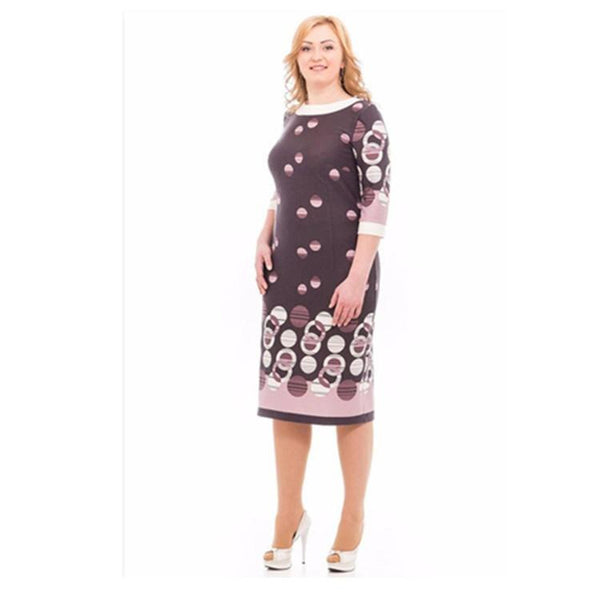 New Style Plus Size Women Half Sleeve Dress Slim Ladies Printed Knee Length Dresses Elegant Party Cocktail Gown Mini Skirts - eileenshoppingdeals