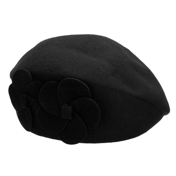 Women Ladies Wool Church Flower Beanie Winter Beanie Cap Beret Hat - eileenshoppingdeals