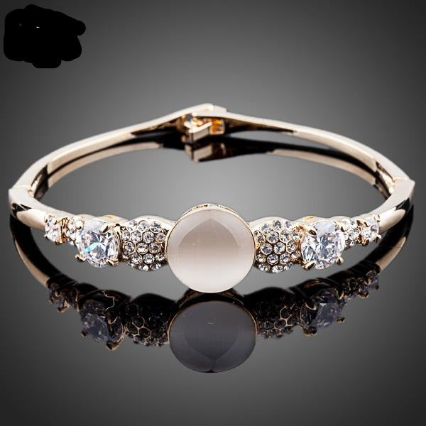 Sparkling Cubic Zirconia Cat's eye Bangle Bracelet TB0035 - eileenshoppingdeals
