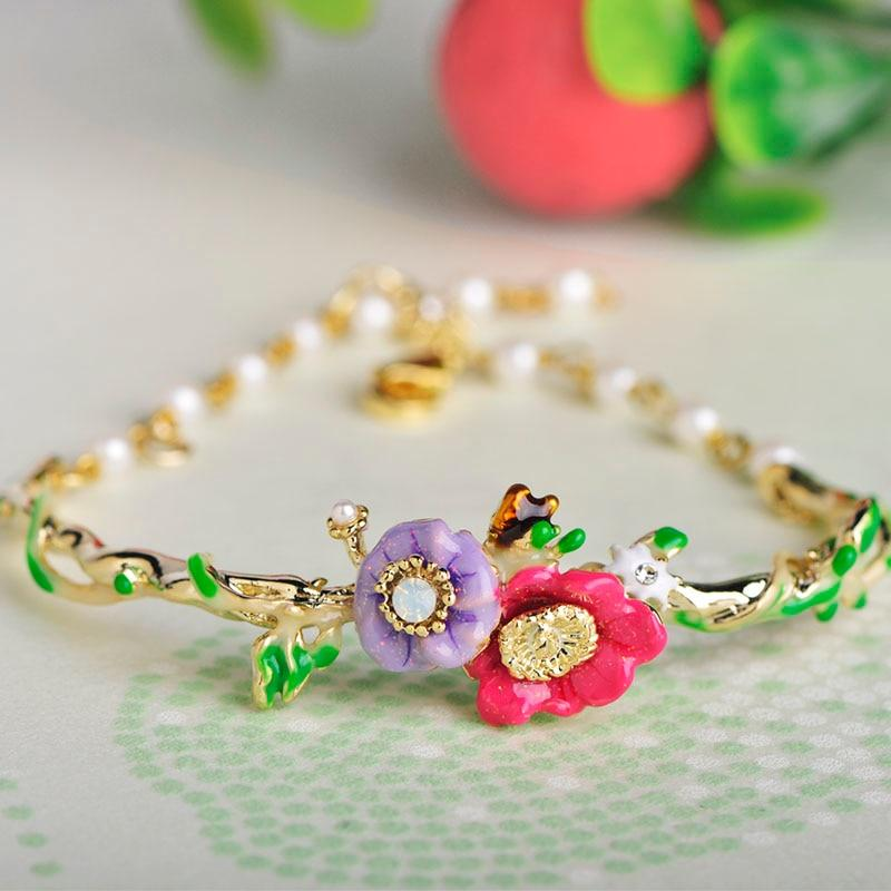 Sweet Colorful Flower Shape Enamel Bracelet Simulated Pearl Lobster Clasp - eileenshoppingdeals