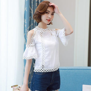 Blusas Feminina Women Blouses 2017 Summer Tops Fashion Crochet Shirt Women White Lace Blouse Hollow Out Chiffon Off Shoulder Top - eileenshoppingdeals