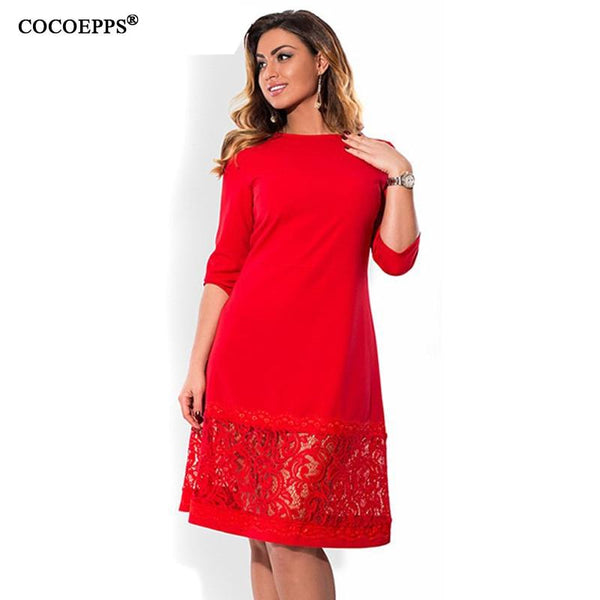 COCOEPPS L-6XL elegant blue women dress big sizes Autumn o-neck loose dresses plus size Knee-Length dress black red casual dress - eileenshoppingdeals
