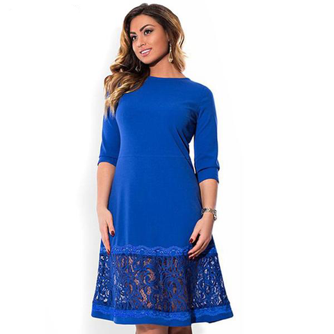 6XL elegant blue women dress big sizes Autumn - eileenshoppingdeals