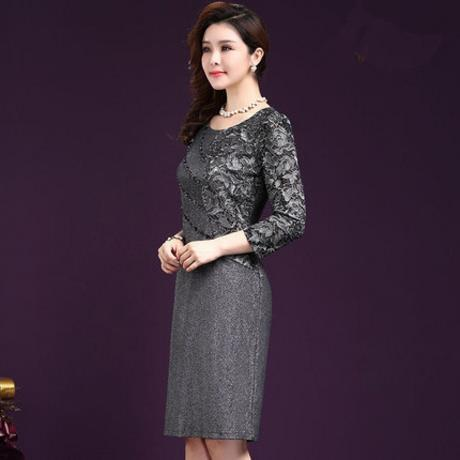 Elegant Women Winter 3/4 Sleeve Knee Length Dress Vintage ,Lace Crochet Dresses - eileenshoppingdeals