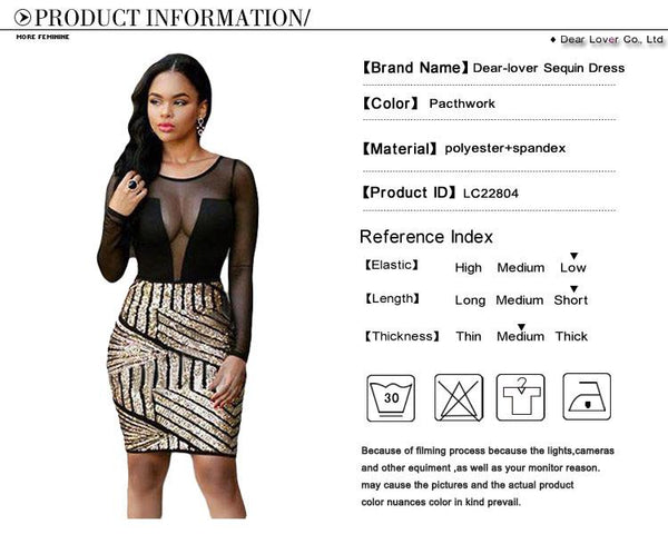 Dear Lover Bodycon Dresses Autumn Women 2016 Sexy Long Sleeves Mesh Shadow Sequin Bottom Dress Party Night Vestido Curto LC22804 - eileenshoppingdeals