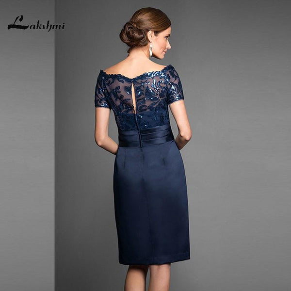 Elegant Navy Scoop Sheath Navy Mother of the Bride Dresses Satin Short Sleeves Sequin Knee Length Wedding - eileenshoppingdeals