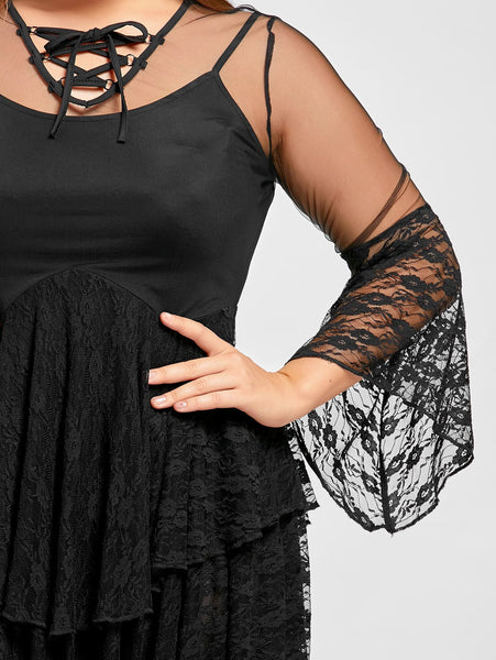 Gamiss Plus Size Sexy Sheer Ruffles Tiered Lace Gothic Dress Female Solid Black Dresses Hollow Out Vintage Gothic Dress XL-5XL - eileenshoppingdeals