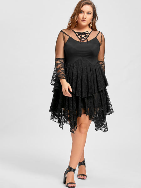 Gamiss Plus Size Sexy Sheer Ruffles Tiered Lace Gothic Dress Female Solid Black Dresses Hollow Out Vintage Gothic Dress XL-5XL -