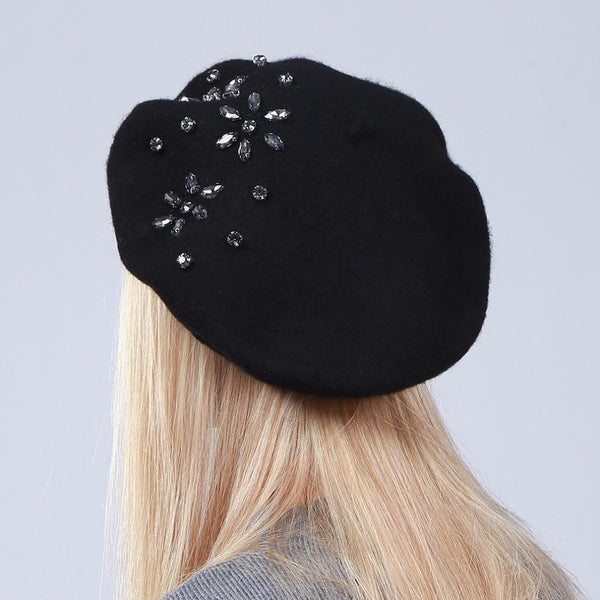 Women's Beret Hat Fashion Solid Color Wool Knitted Berets With Rhinestones - eileenshoppingdeals
