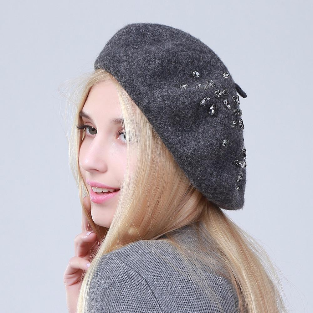 Geebro Women s Beret Hat Fashion Solid Color Wool Knitted Berets With  Rhinestones Ladies French Artist Beanie ... 8280819850d