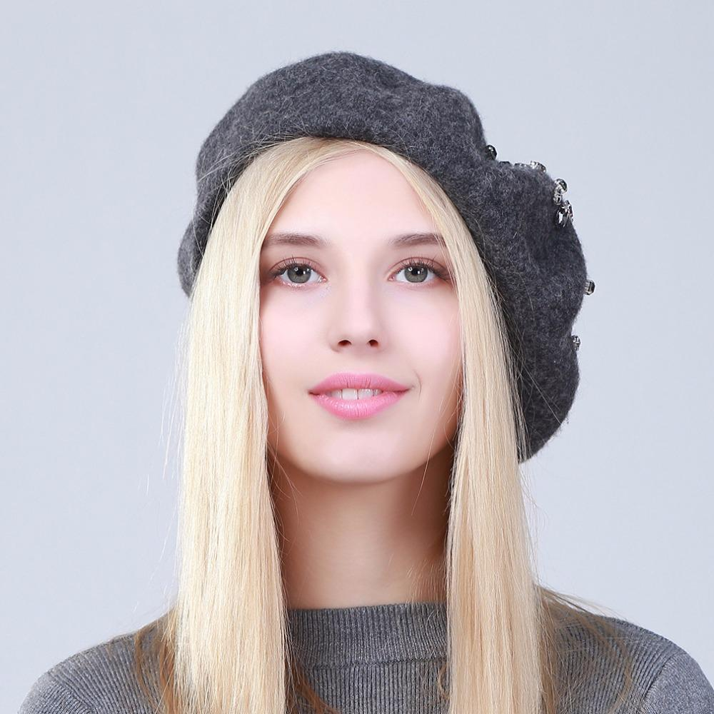 Women's Beret Hat Fashion Solid Color Wool Knitted Berets With Rhinest