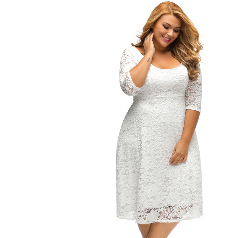 New Elegant Large Size Lace Dresses 2017 White Floral Lace Sleeved Fit and Flare Curvy Dress  Vestidos Mujer LC61395 - eileenshoppingdeals