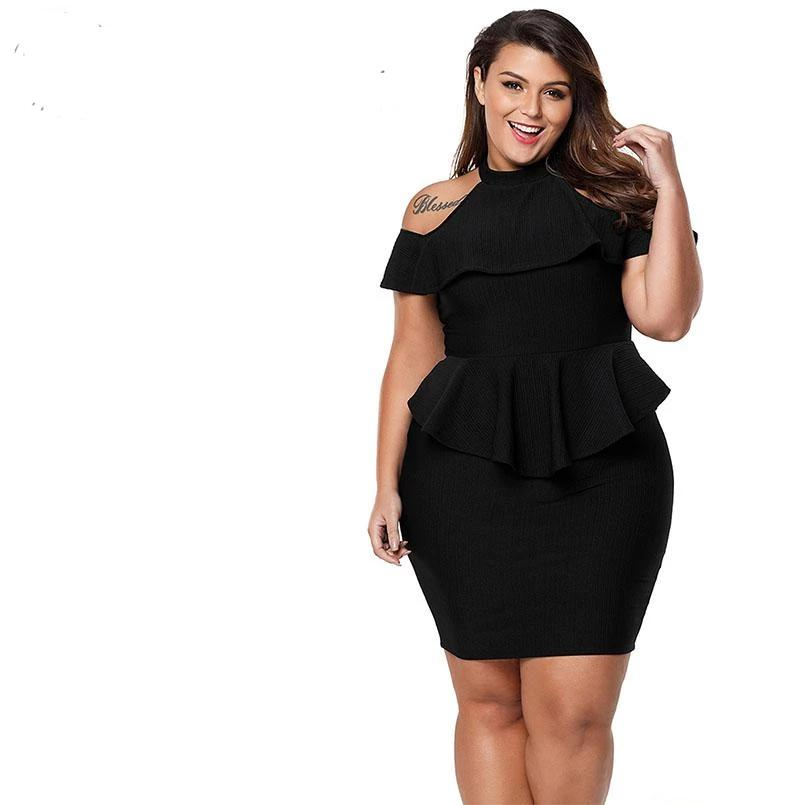 eddb55c4612 ... Gosopin Plus Size Summer Office Ladies Dress 2018 Cold Shoulder Peplum  Bodycon Dress Sexy Party Dress ...