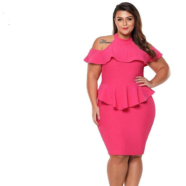 Plus Size Summer Office Ladies Dress, Cold Shoulder Peplum Bodycon Dress - eileenshoppingdeals