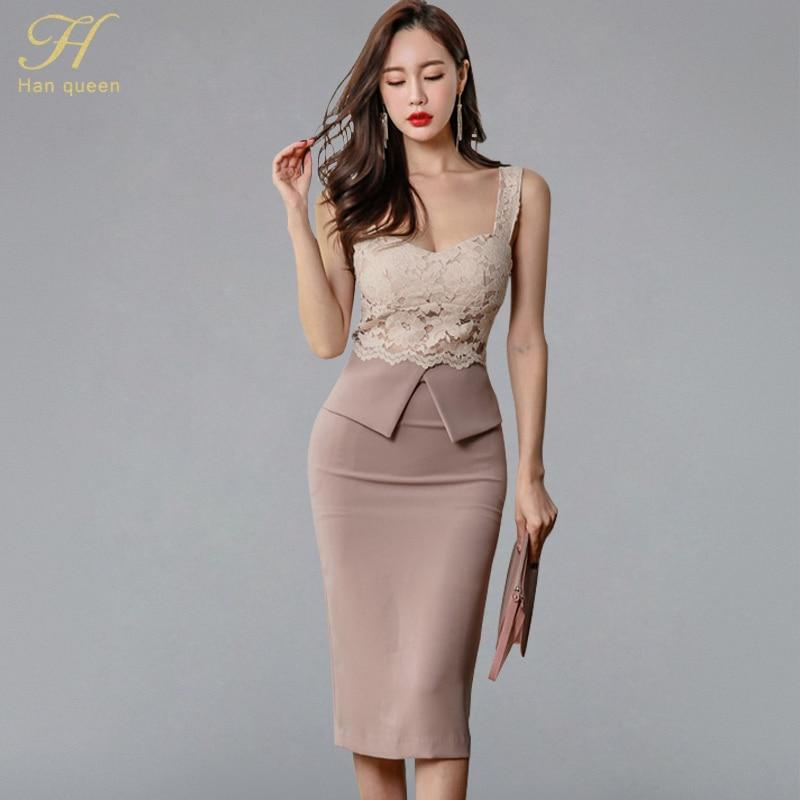 2ebff46f71473 H Han Queen Halter Strapless Summer OL Lace Pencil Dress 2018 New Fashion  Sexy V Collar Sleeveless Vintage Club Party Dresses