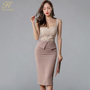 e2549e24ae34e H Han Queen Halter Strapless Summer OL Lace Pencil Dress 2018 New Fashion  Sexy V Collar