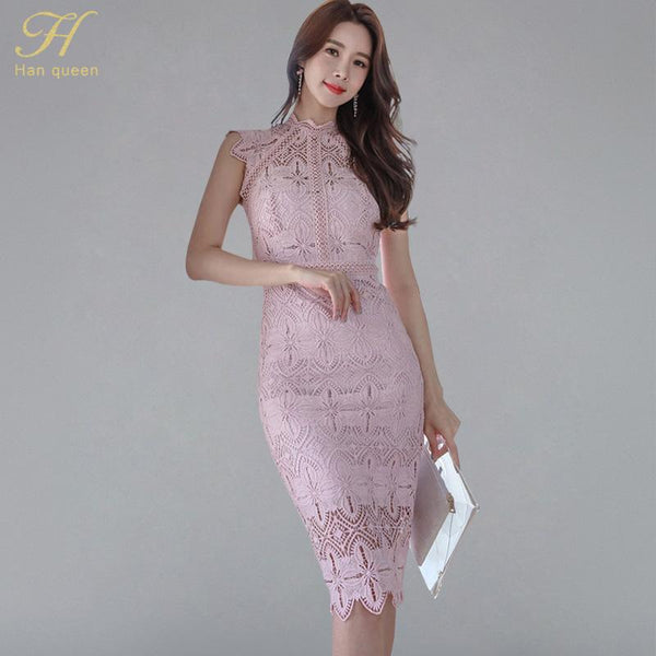 Women  Elegant Lace Hollow Out See Through Pencil Dress - eileenshoppingdeals