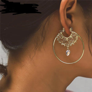 IF ME Vintage Trendy Gold Color Hoop Earrings For Women Bohemian Crystal Statement Geometry Round Creole Earring Pierce Jewelry - eileenshoppingdeals