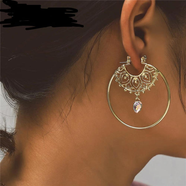 Gold Color Hoop Earrings For Women,  Geometry Round Creole pierce Earring - eileenshoppingdeals