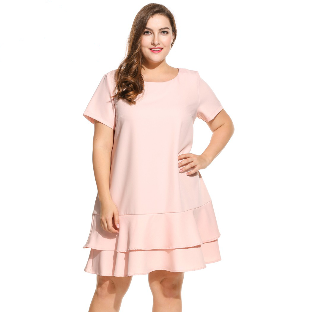 fbd2508ef53 In voland brand plus size dress for women short sleeve solid double layer  ruffles hem party