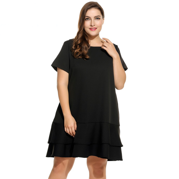 IN'VOLAND Brand Plus Size Dress For Women Short Sleeve Solid Double Layer Ruffles Hem Party Dresses Lady Big Size Vestidos 4XL - eileenshoppingdeals