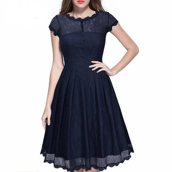 Nemidor 2017 Hot Sales Women Vintage O-neck A-line Swing Dresses Elegant Short Sleeve Midi Party Retro Lace Dress - eileenshoppingdeals