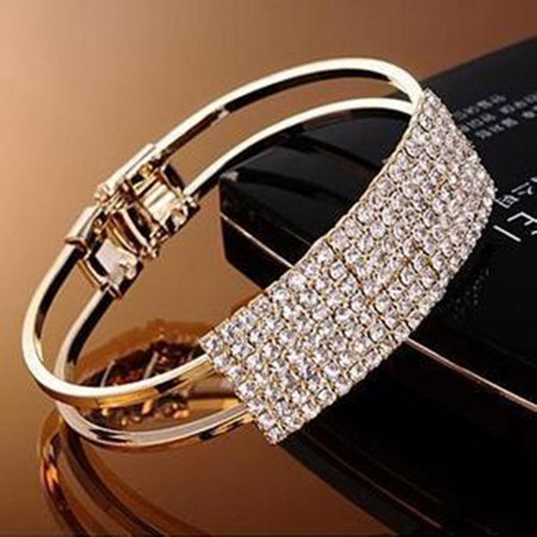 Elegant Women Bangle, Wristband Bracelet Crystal Cuff, - eileenshoppingdeals