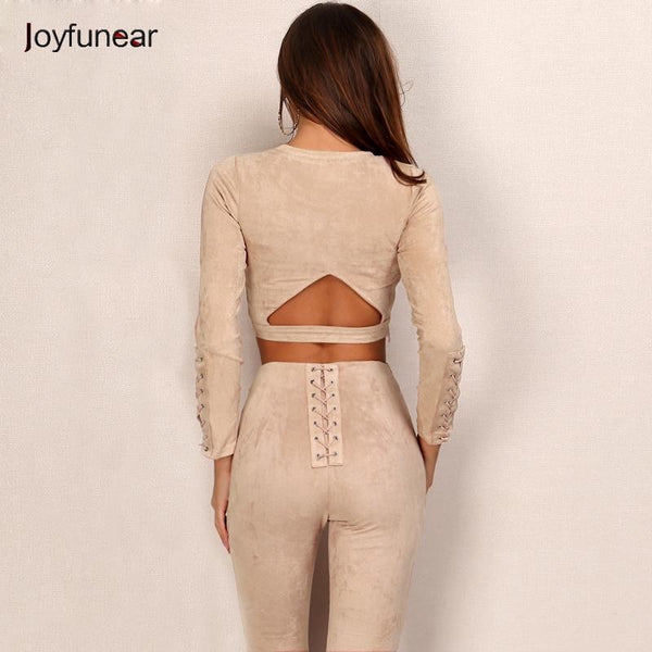 New Suede Leather 2 Piece Set Sexy O-neck long sleeve tight  bandage - eileenshoppingdeals