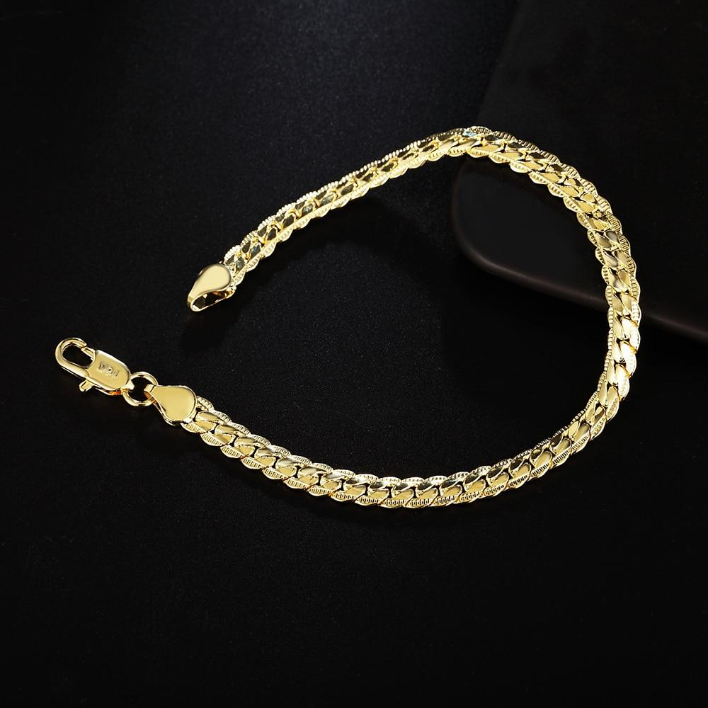 Noble 5MM snake style Beautiful bracelet Gold color silver plated - eileenshoppingdeals